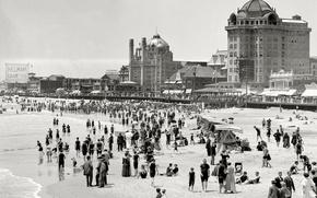 Wallpaper USA, beach, people, shore, 1915 year, retro, sea