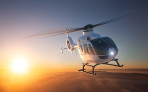 Picture abstraction, dawn, art, helicopter, helicopter, wallpaper., EC 135, Eurocopter EC 135, the sun, the sky …