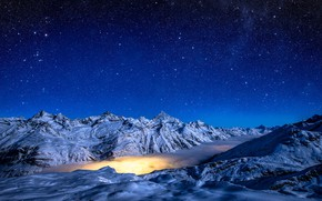 Picture winter, the sky, stars, snow, mountains, night