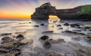 Picture sunset, rock, shore, coast