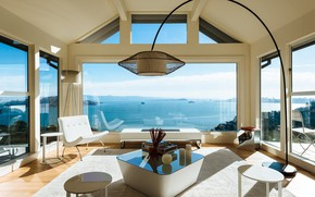 Picture glass, Villa, interior, living room, Sausalito Outlook