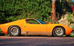 Picture Auto, Lamborghini, Machine, Orange, Eyelashes, 1971, Lights, Car, Supercar, Side view, Lamborghini Miura, P400, SVJ, …