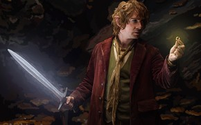 Picture Figure, The hobbit, The Hobbit, Bilbo Baggins, Sting, Artwork, The One Ring