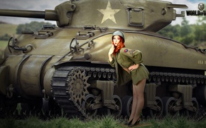 Picture field, grass, girl, trees, figure, art, shoes, tank, helmet, American, redhead, average, World of Tanks, …