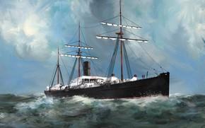 Picture wave, ship, Transatlantic Ships, devonia