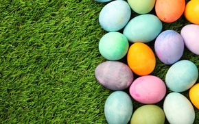 Picture grass, Easter, spring, Easter, eggs, Happy, the painted eggs