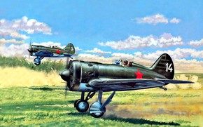 Picture figure, -16, fighter-monoplane, piston, CCCP, Soviet Air Force, Pilot, radial engine, M-62 (ASH-62)