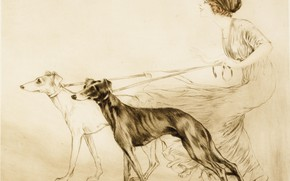 Picture 1913, etching, dry needle, Hunting with hounds, Louis Icart, art Deco