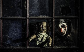 Picture fear, doll, mask, window