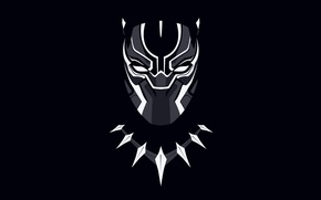 Picture background, necklace, mask, black background, comic, Marvel Comics, black Panther, Black Panther