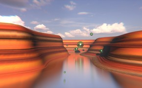 Picture landscape, canyon, flight, sphere, blender3d, primitive
