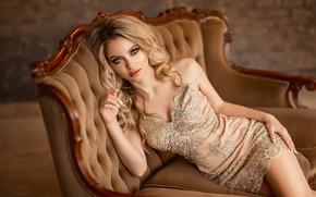Wallpaper dress, blonde, Ekaterina Zorina, A Diakov George, look, pose