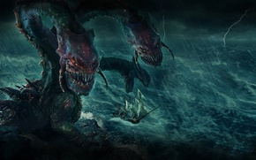 Picture Monster, Ship, Storm, The storm, Plarium, Stormfall Age of War, Dragon