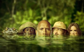 Wallpaper greens, water, crocodile, jungle, fantasy, adventure, poster, Dwayne Johnson, Dwayne Johnson, Jack Black, Jack Black, ...
