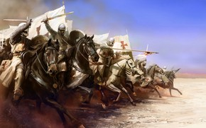 Picture weapons, flag, attack, Templar, Knight, horse, armor
