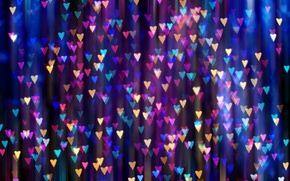 Wallpaper light, a lot, hearts, bright, bokeh