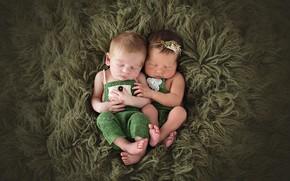 Picture children, green, boy, girl, fur, babies