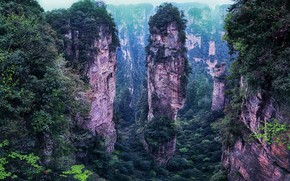Picture China, mountains, trees, nature, landscape, stones