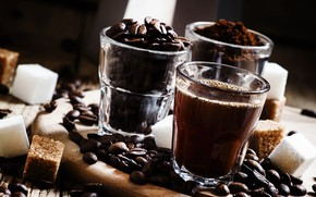 Picture glass, coffee, drink, coffee beans