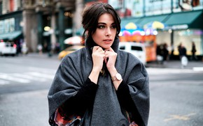 Picture girl, photo, street, watch, coat, looking, gorgeous