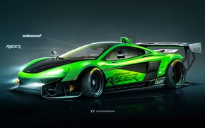 Picture McLaren, Auto, Figure, Green, Machine, Background, Car, Car, Art, Art, Sports, Rendering, Yasid Design, Green, …