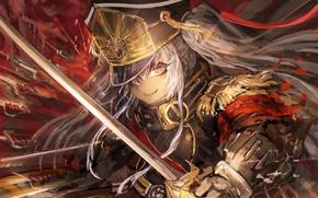 Picture red, game, anime, asian, warrior, japanese, oriental, asiatic, bishojo, light novel, Re.Creators, Re. Creators