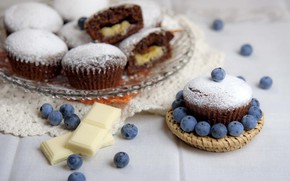 Picture berries, chocolate, cupcakes, blueberries