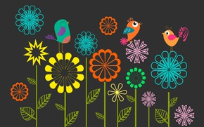 Wallpaper flowers, birds, figure
