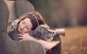 Picture bench, mood, dog, friendship, girl, freckles, friends, bokeh, doggie