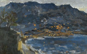 Picture sea, landscape, mountains, picture, Konstantin Korovin, Early Evening. Crimea