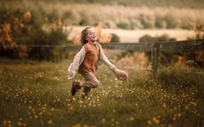 Wallpaper joy, summer, meadow, the fence, running, village, village, movement, nature, boy, runs, positive, former, emotions, ...