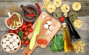 Picture mushrooms, oil, knife, Board, vegetables, tomatoes, pasta