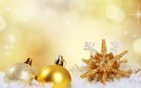 Picture snow, gold, holiday, balls, new year, snowflake
