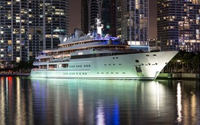 Picture water, night, the city, beauty, yacht