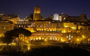 Picture night, lights, Rome, Italy, Campo Marzio, The Field Of Mars