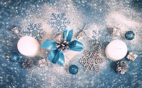 Picture snow, decoration, snowflakes, candles, New Year, Christmas, Christmas, wood, blue, Merry Christmas, Xmas, decoration