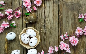 Picture flowers, basket, eggs, spring, Easter, pink, wood, pink, blossom, flowers, spring, Easter, eggs, decoration, Happy, …
