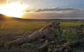 Picture gun, rock, soldier, sky, military, weapon, cloud, man, duty, american, flag, rifle, pearls, vegetation, uniform, …