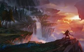 Wallpaper sword, fantasy, forest, twilight, river, sky, trees, landscape, weapon, sunset, Warrior, mountains, clouds, rocks, evening, ...