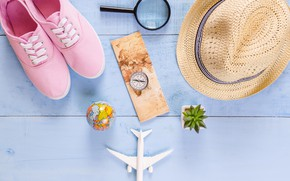 Picture sea, stay, shoes, hat, The plane, Magnifier, Vacation