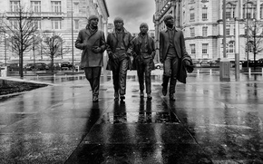 Picture England, black and white, monument, The Beatles, monochrome, Liverpool, Liverpool, England