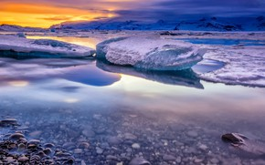 Picture cold, ice, winter, the sky, clouds, snow, sunset, mountains, clouds, pebbles, reflection, stones, shore, ice, …