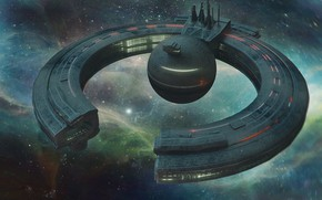 Picture space, nebula, stars, station, droid control ship