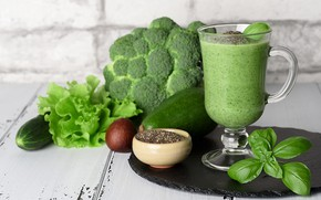 Picture drink, vegetables, fresh, avocado, Basil, smoothies