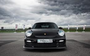 Wallpaper 911, Porsche, Front, Black, Almaty
