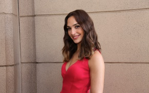Picture smile, beauty, hair, look, actress, red dress, Gal Gadot, photosession