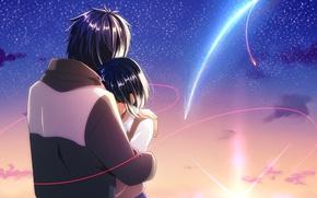 Picture girl, romance, anime, art, guy, Kamet, Still, tachibana taki, miyamizu mitsuha, Kimi no VA On, …