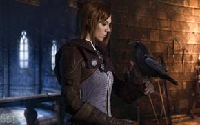 Picture style, castle, bird, costume, image, Raven, character, Dragon Age, cosplay, cosplay, Leliana, Leliana, Natali Naboyschikova