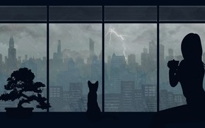 Picture cat, girl, the city, rain, by Aquelion