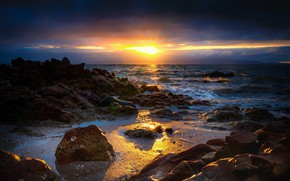 Picture sea, landscape, sunset, nature, the ocean, coast, the evening